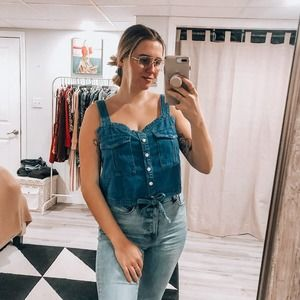 We The Free Denim Chambray Buckle Crop Top L NWT